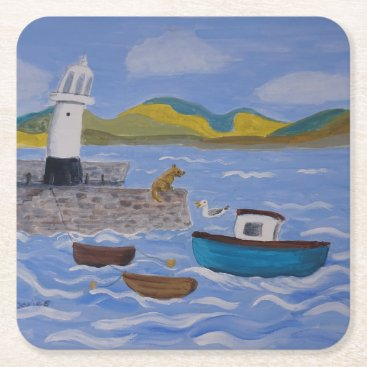 Beach Themed whimsical Querky Harbor Square Paper Coaster