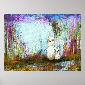 Whimsical Rabbits Abstract Art Original Painting Posters