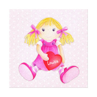Whimsical rag doll girls add your name nursery art canvas prints