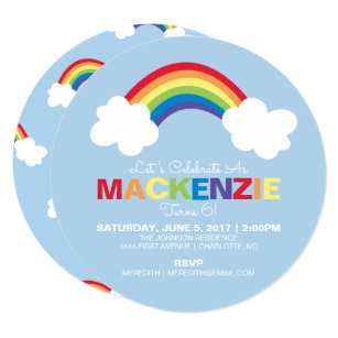 Rainbow Party Invitations Announcements Zazzle