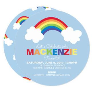 rainbow birthday party invitations  announcements  zazzle, Birthday invitations