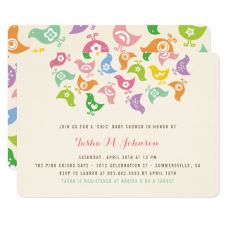 Whimsical Rainbow Chicks Girl Baby Shower Invite