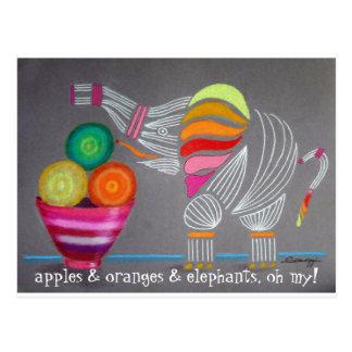 Whimsical Rainbow Elephant art on postcard