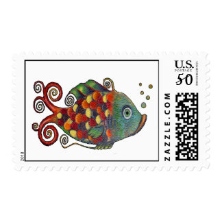 Whimsical Rainbow Fish with Bubbles Colorful Cute Postage