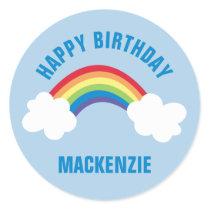 Whimsical Rainbow Happy Birthday Party Sticker