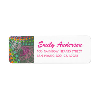 Whimsical Rainbow Hearts Pink Swirls Labels