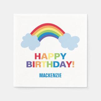 Whimsical Rainbow Personalized Birthday Napkins