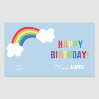 Whimsical Rainbow Personalized Gift Sticker