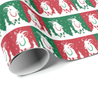 Whimsical Red and Green Goat Holiday Wrap Wrapping Paper