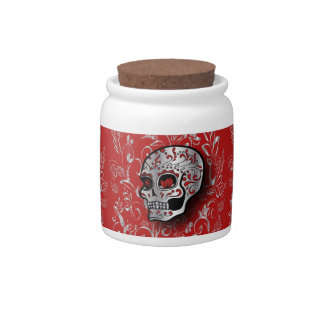Whimsical Red and Silver Floral Sugar Skull Candy Dish