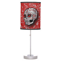 Whimsical Red and Silver Floral Sugar Skull Table Lamp