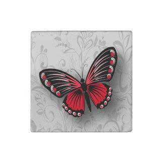 Whimsical Red Butterfly on Gray Floral Stone Magnet