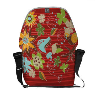 Whimsical Red Floral Garden Flowers Nature Art Bag Messenger Bags