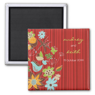 Whimsical Red Floral Garden Save The Date Magnet