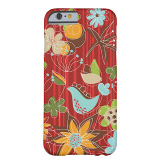 Whimsical Red Floral Garden Whimsical Bird Casing Barely There iPhone 6 Case