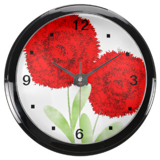Whimsical Red Flower Blooms Aquarium Clocks