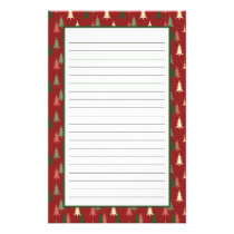 Whimsical Red Green Christmas Tree Pattern Stationery