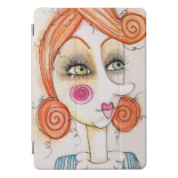 Whimsical Red Hair Girl Artsy Blue Stripes Cute iPad Pro Cover
