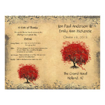 Whimsical Red Heart Leaf Tree Wedding Program