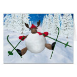 Whimsical Reindeer: Clumsy Skier Greeting Cards