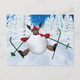 Whimsical Reindeer: Clumsy Skier postcard