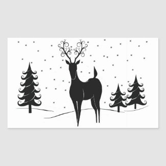 Whimsical Reindeer Rectangular Sticker
