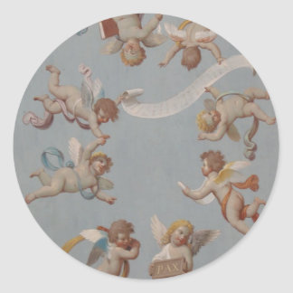 Whimsical Renaissance Cherub Angels Classic Round Sticker