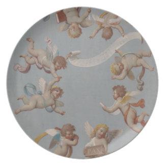 Whimsical Renaissance Cherub Angels painting Dinner Plate