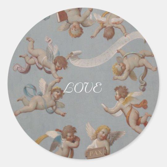 Whimsical Renaissance Cherubs Classic Round Sticker