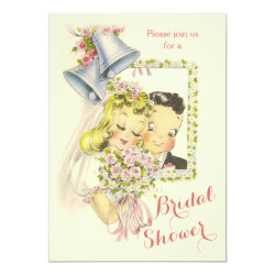 Whimsical Retro Bride and Groom Bridal Shower Invitation