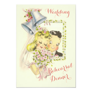 Whimsical Retro Bride and Groom Rehearsal Dinner 5x7 Paper Invitation Card