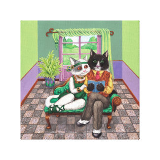 Whimsical Retro Cats from the Roaring 1920s Canvas Print