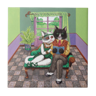 Whimsical Retro Cats from the Roaring 1920s Ceramic Tile