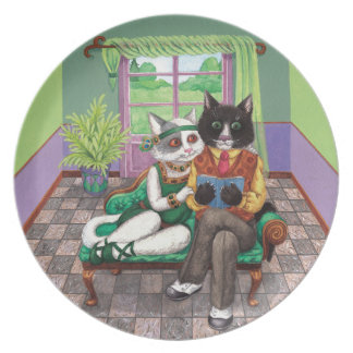 Whimsical Retro Cats from the Roaring 1920s Melamine Plate