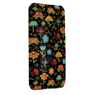 Whimsical Retro Flowers and Birds iPhone 3 Case-Mate Case