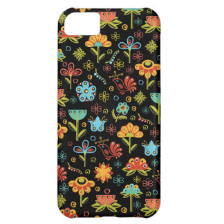 Whimsical Retro Flowers and Birds iPhone 5C Cases