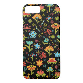 Whimsical Retro Flowers and Birds iPhone 7 Case
