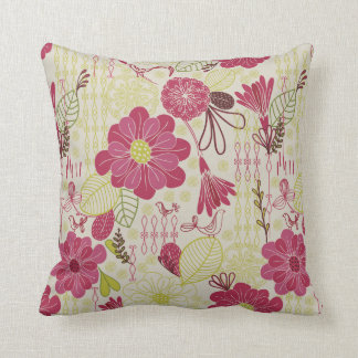 Whimsical Retro Flowers and Birds Pattern Throw Pillow