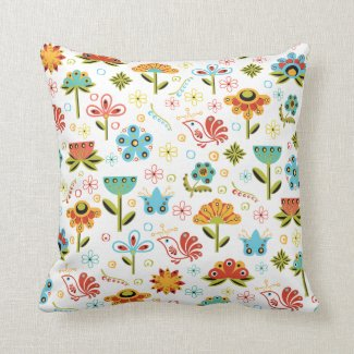 Whimsical Retro Flowers and Birds Throw Pillows
