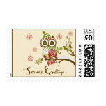 Whimsical Retro Owls and Snowflakes Holiday Stamps