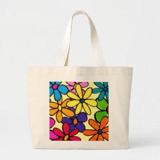 Whimsical Retro Painted Daisy Flower Pattern Jumbo Tote Bag