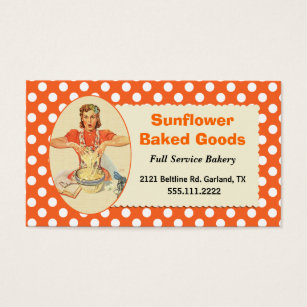 Whimsical bakery business cards templates zazzle whimsical retro polka dot bakery business card reheart Image collections