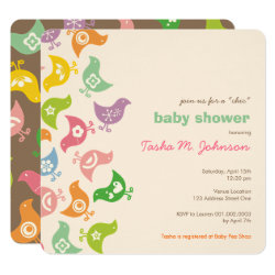 Whimsical Retro Rainbow Chicks Baby Shower Invite