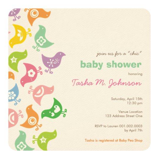 Whimsical Retro Rainbow Chicks Baby Shower Invite