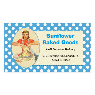 Whimsical Retro Woman Bakery Business Card