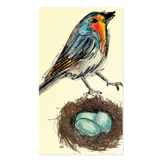 Whimsical Robin with Nest & Eggs Business Card