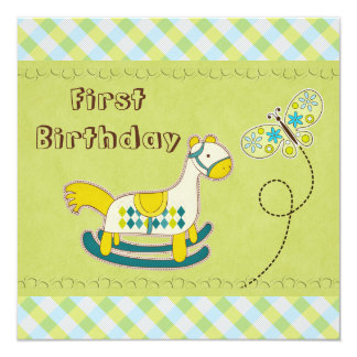 Whimsical Rocking Horse & Butterfly 1st Birthday 5.25x5.25 Square Paper Invitation Card