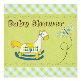 Whimsical Rocking Horse & Butterfly Baby Shower 5.25x5.25 Square Paper Invitation Card