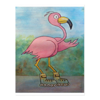 Whimsical Roller Skating Roller Blading Flamingo Postcard