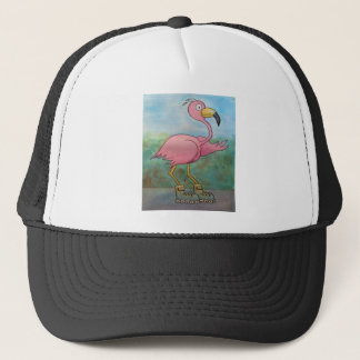 Whimsical Roller Skating Roller Blading Flamingo Trucker Hat